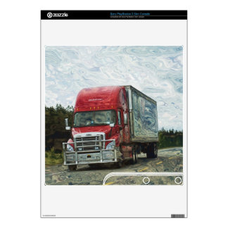 Red Cargo Truck Playstation 3 Skin Skins For PS3 Slim