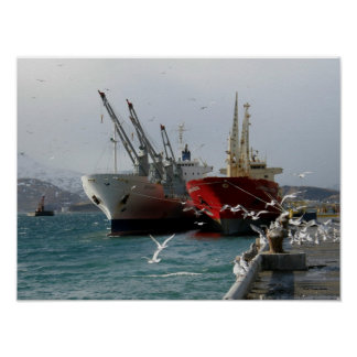 Red Cargo Vessel & White Cargo Vessel Poster
