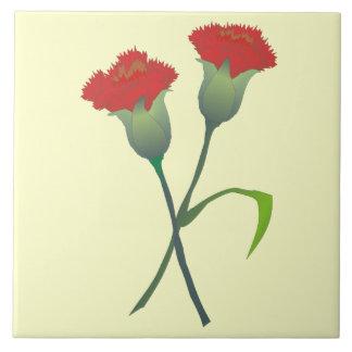 Red Carnation Buds Decorative Tile