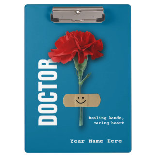 Red Carnation Custom Name Clipboard for Doctors