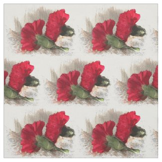 Red Carnation Flowers Fabric