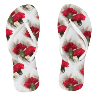 Red Carnation Flowers on Brocade Flip Flops