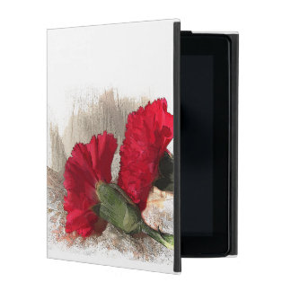 Red Carnation Flowers on Brocade iPad Folio Cases