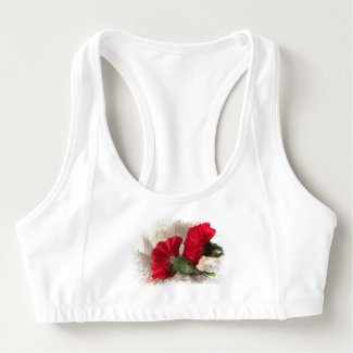 Red Carnation Flowers Sports Bra