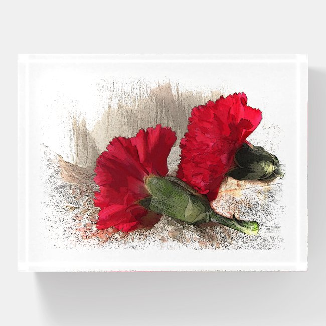 Red Carnation Garden Flower Glass Paperweight