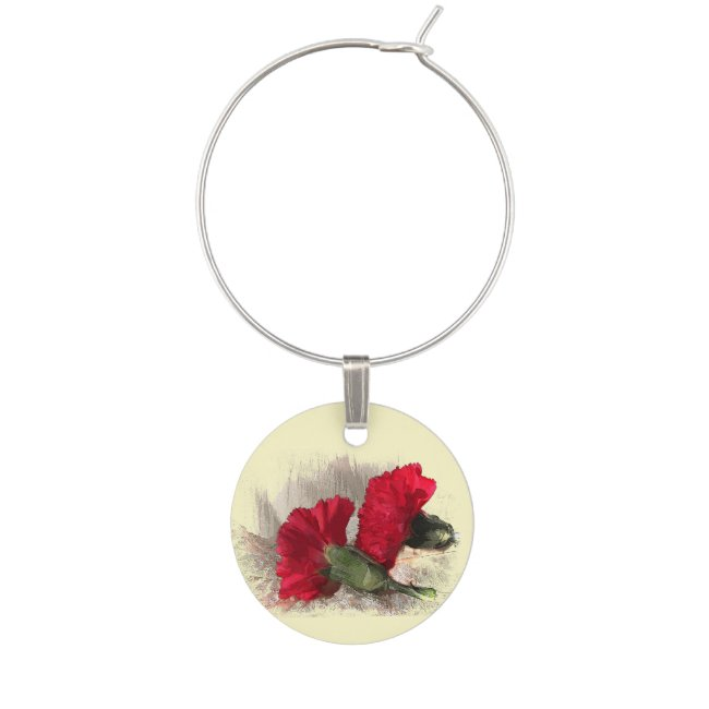 Red Carnation Garden Flowers Wine Charm