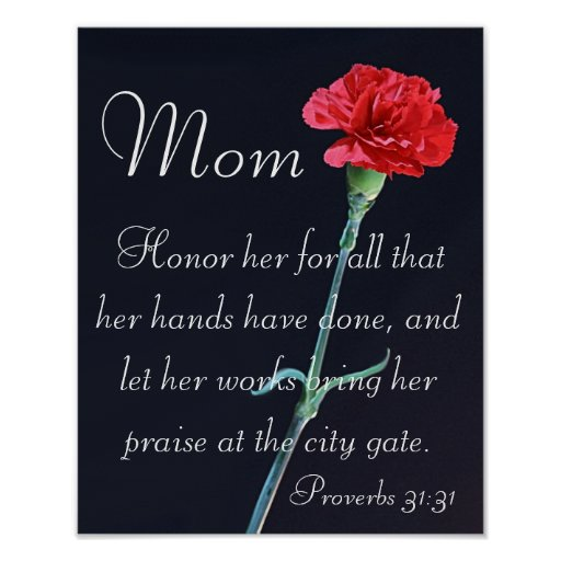 Red Carnation Mother S Day Bible Verse Proverbs Poster