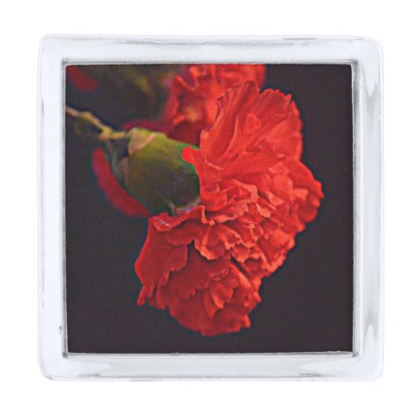 Red Carnation (Ohio) Silver Finish Lapel Pin