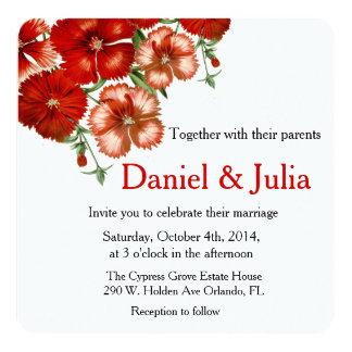 Red Carnation Round Wedding invitation