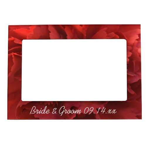 Red Carnation Wedding Magnetic Picture Frame