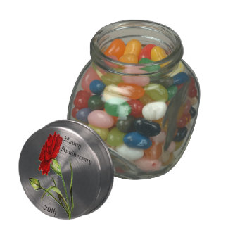 Red Carnation With A Green Bud Jelly Belly Candy Jar