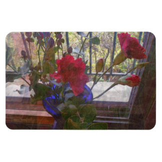 Red Carnations and Vase 2 Rectangular Photo Magnet