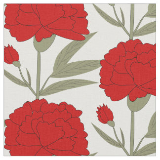 Red Carnations Fabric