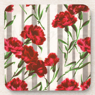 red carnations in the wild beverage coasters