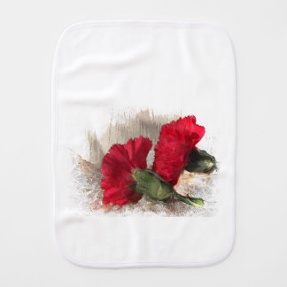 Red Carnations on Brocade Baby Burp Cloth