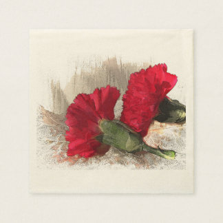 Red Carnations on Brocade Napkin