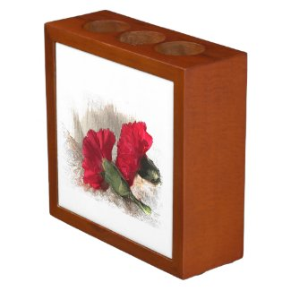 Red Carnations on Brocade Pencil Holder