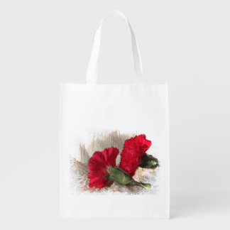 Red Carnations on Brocade Reusable Grocery Bag