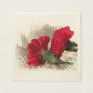 Red Carnations on Brocade Standard Cocktail Napkin