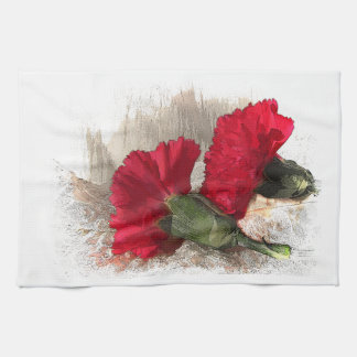 Red Carnations on Brocade Towel