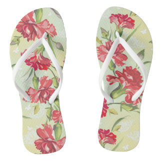 Red Carnations on green with butterflies Flip Flops
