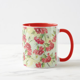 Red Carnations on green with butterflies Mug