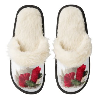 Red Carnations Pair of Fuzzy Slippers