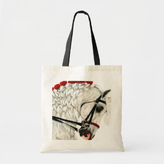 Red Carnations WHite Horse Tote