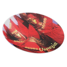 Red Carnival Costumes and Golden Masks Melamine Plate