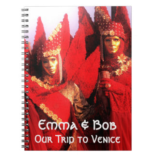Red Carnival Costumes and Golden Masks Spiral Notebook