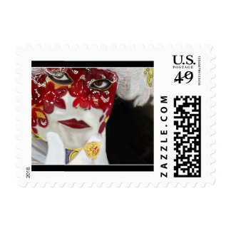 Red Carnival Lace Mask Stamps