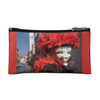 Red carnival mask in Venice, Italy Makeup Bag
