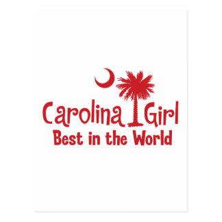 Red Carolina Girl Best in the World Postcard