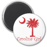 Red Carolina Girl Palmetto Fridge Magnets