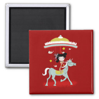 Red carousel doves magic world doll horse Magnet