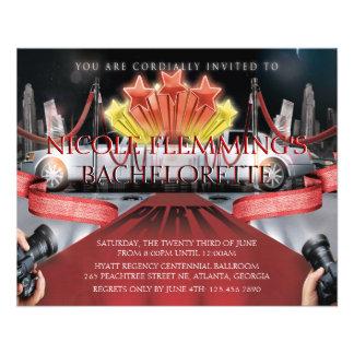 Red Carpet Bachelorette Party Invitation Flyer