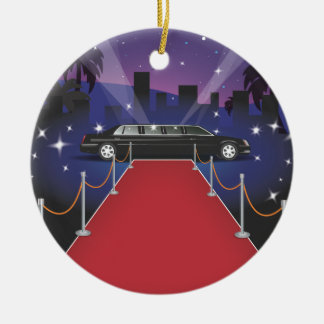Red Carpet Celebrity Limo Double-Sided Ceramic Round Christmas Ornament