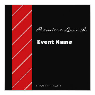 Red Carpet event red and black 5.25x5.25 Square Paper Invitation Card