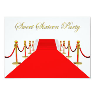 Red Carpet Event Sweet 16 Party 5x7 Paper Invitation Card