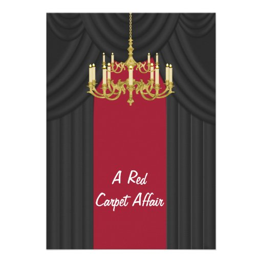 Red Carpet Gold Chandelier Prom Invitations 5 X 7 Invitation Card