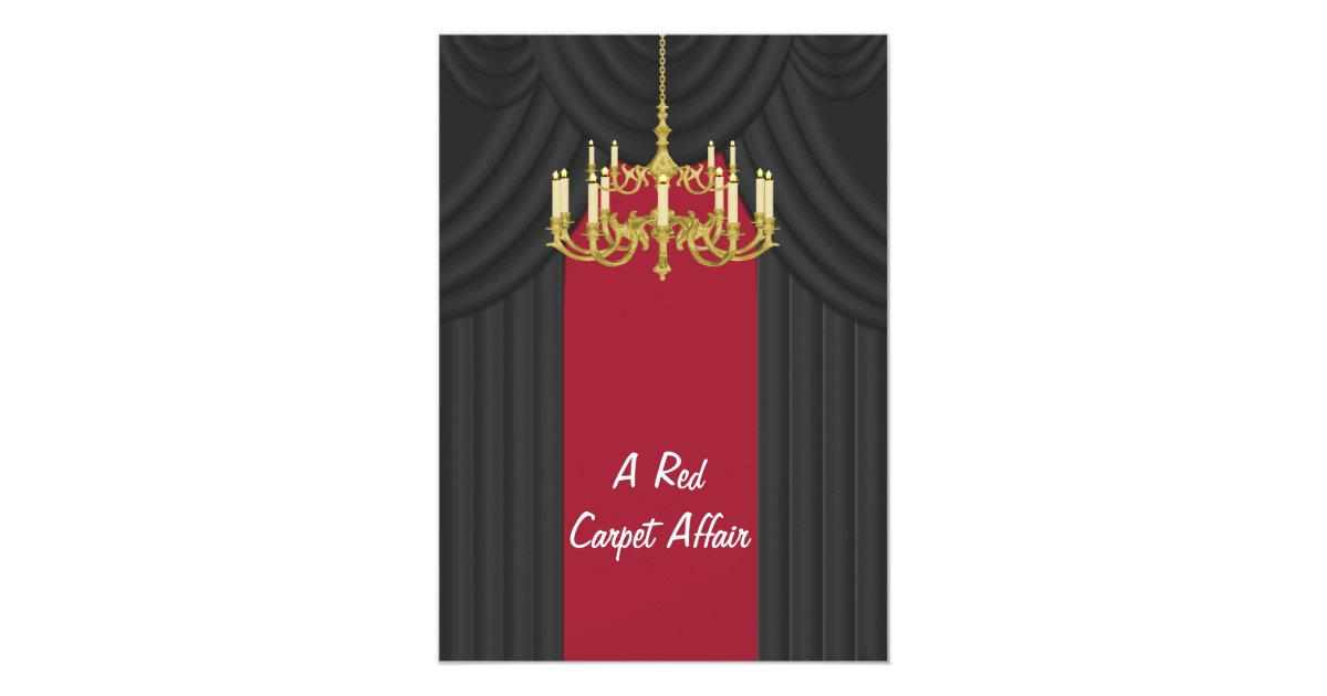 Red Carpet Gold Chandelier Prom Invitations Zazzle
