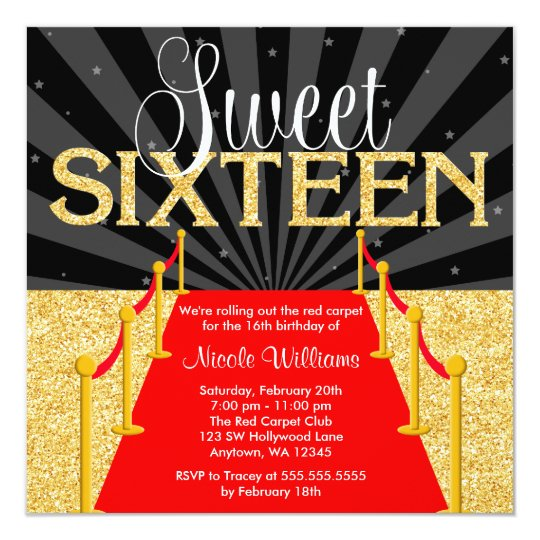 Red Carpet Gold Glam Hollywood Sweet 16 Birthday Card Zazzlecom
