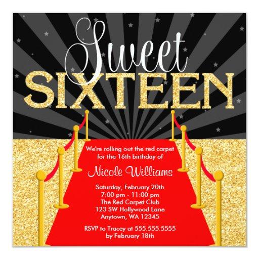 Red Carpet Gold Glam Hollywood Sweet 16 Birthday