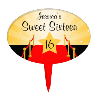 Red Carpet Hollywod Sweet 16 Birthday Party Cake Topper