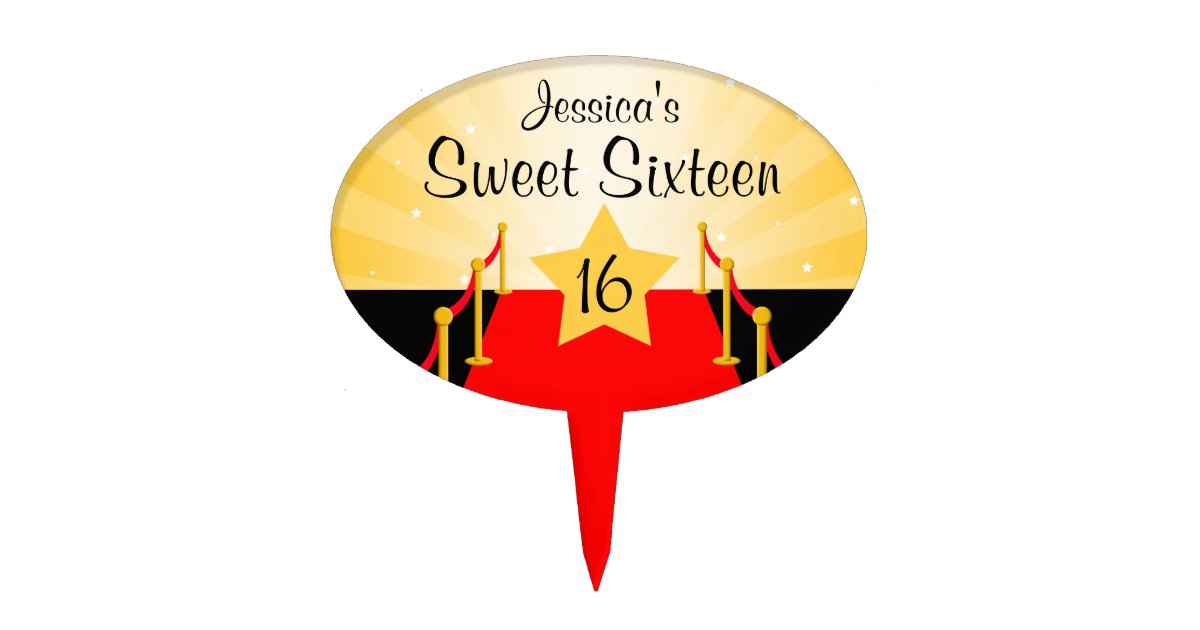 Red Carpet Hollywod Sweet 16 Birthday Party Cake Topper Zazzle