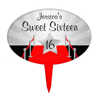 Red Carpet Hollywod Sweet 16 Birthday Silver Cake Topper
