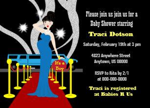 Red Carpet Hollywood Baby Shower Invitation Boy