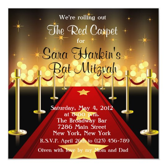 Red Carpet Hollywood Bat Mitzvah Birthday Invite Zazzlecom