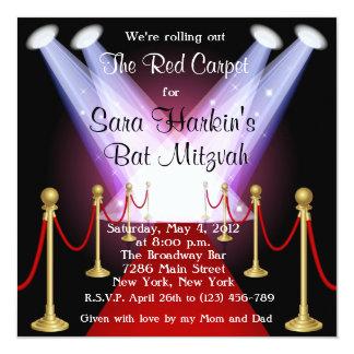 Red Carpet Hollywood Bat Mitzvah Birthday  Invite