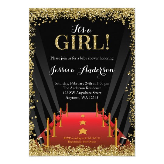 Red Carpet Hollywood Faux Glitter Baby Shower Invitation Zazzle